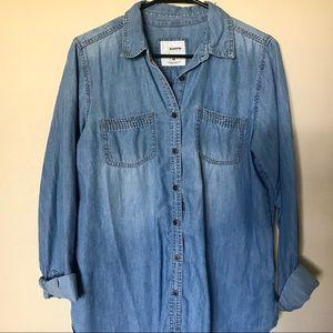 Sonoma Distressed Denim Button Up Shirt